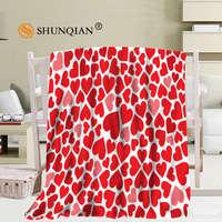Custom heart balloon blanket Flannel Falafel Fabric 58x80inch 50X60inch 40X50inch Sofa Bed Throw Blanket Kid Adult Warm Blanket
