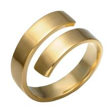 imixlot New Gold Adjustable Stainless Steel Ring for Women and Man Fashion Simple Silver Lover Set Jewelry Gift