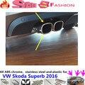 Для VW Skoda Superb 2016 кузова Стайлинг крышка глушителя внешний конец черная труба посвятить нержавеющей стали выхлопной совет хвост 2 шт.
