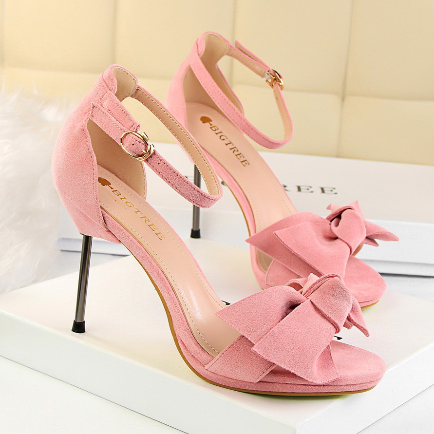 Free Shipping 2017 High Heels Fine With Fashion Shallow Mouth Sandals New Big Bow Woman Shoes 7 Color Size 34-39 16cm fine with high heels female korean version of the sexy thin bow shoes round head shallow mouth shop shoes