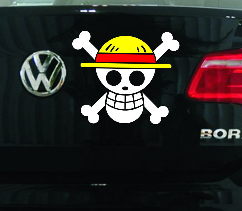 Car Sticker ONE PIECE Pirate Flag Skulls Cartoon Colorful Creative Decals For Fuel Tank Cap Waterproof Auto Tuning Styling D11