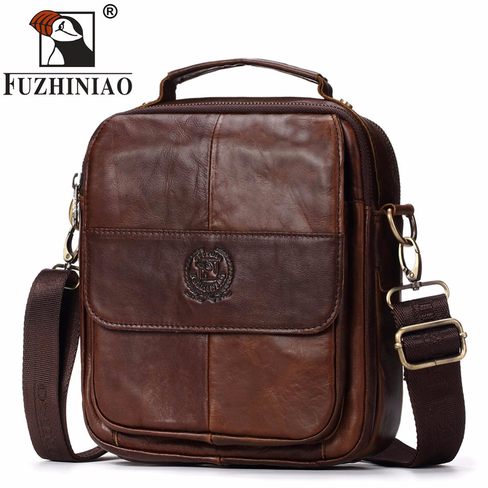 FUZHINIAO New Arrival Fashion Business Genuine Leather Men Messenger Bags Promotional Small Crossbody Shoulder Bag Casual