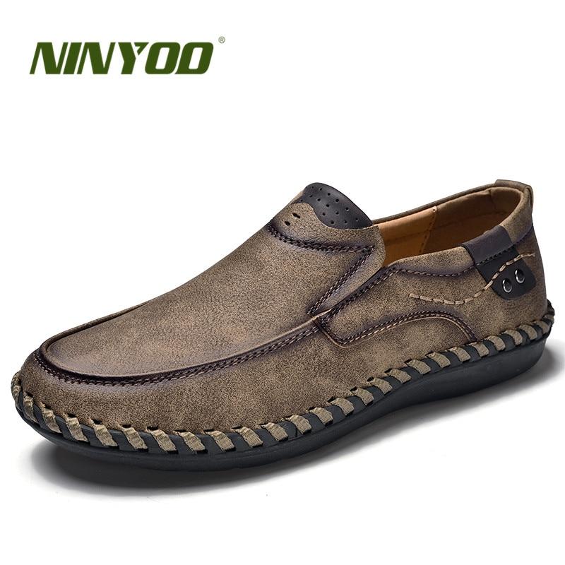 NINYOO Handmade Marke Schuhe Männer Echtes Leder Freizeitschuhe - Herrenschuhe - Foto 2