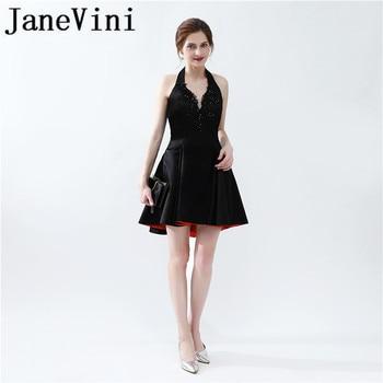 JaneVini Elegant Black A Line Short Bridesmaid Dresses Halter Lace Appliques Sequined Backless Satin Mini Prom Gowns Plus Size