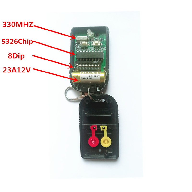 Malaysia 5326 330mhz dip switch auto gate remote control transmitter keyfob with metal sliding cover