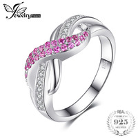 JewelryPalace Forever Love Infinity Created Sapphire Anniversary Promise Ring Charm 925 Sterling Silver New Fashion Jewelry