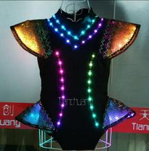 Led costumes nightclub ds sexy glow skirt DJ female stage lighting outfit is exaggerated conjoined dance