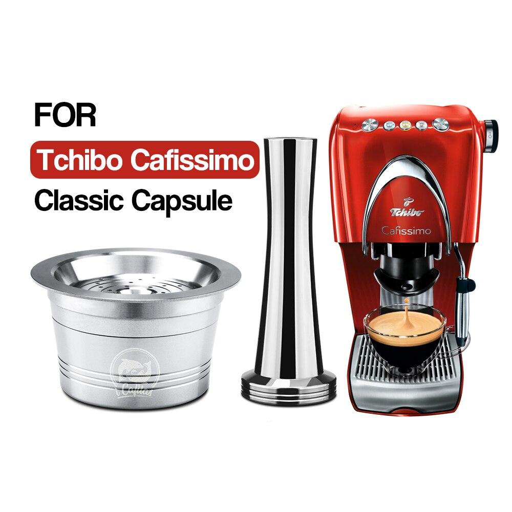 Icafilas caffitaly k-fee tchibo cafissimo 클래식 스테인레스 스틸 리필 가능 카페 캡슐 포드 탬퍼 용 재사용 가능한 커피 필터