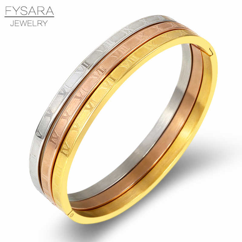 FYSARA Classic Bracelets Set Stainless Steel Roman Numeral Bangles Luxury Charm Bangles For Women Jewelry Accessories