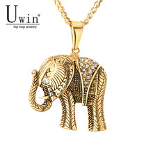 UWIN Hip Hop Elephant Pendant Gold Palted Stainless Steel Trendy Arrowhead Rock Punk Necklace Men Cold Weapons Jewelry(China)
