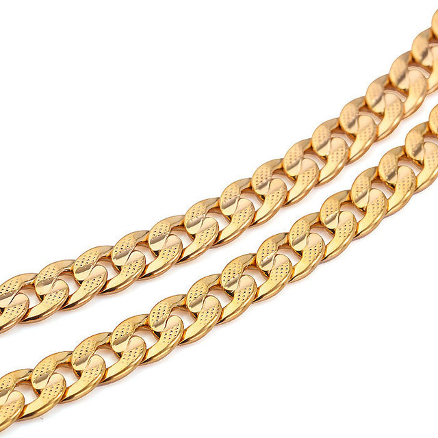 heavy chain solid diamond gold mens chains necklace cut polished square inch yellow curb link mm