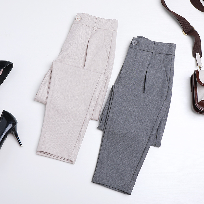 Women Pants & Capris Slim summer Solid color High waist thin Pencil pants Skinny Ankle-Length Pants Woman 8271