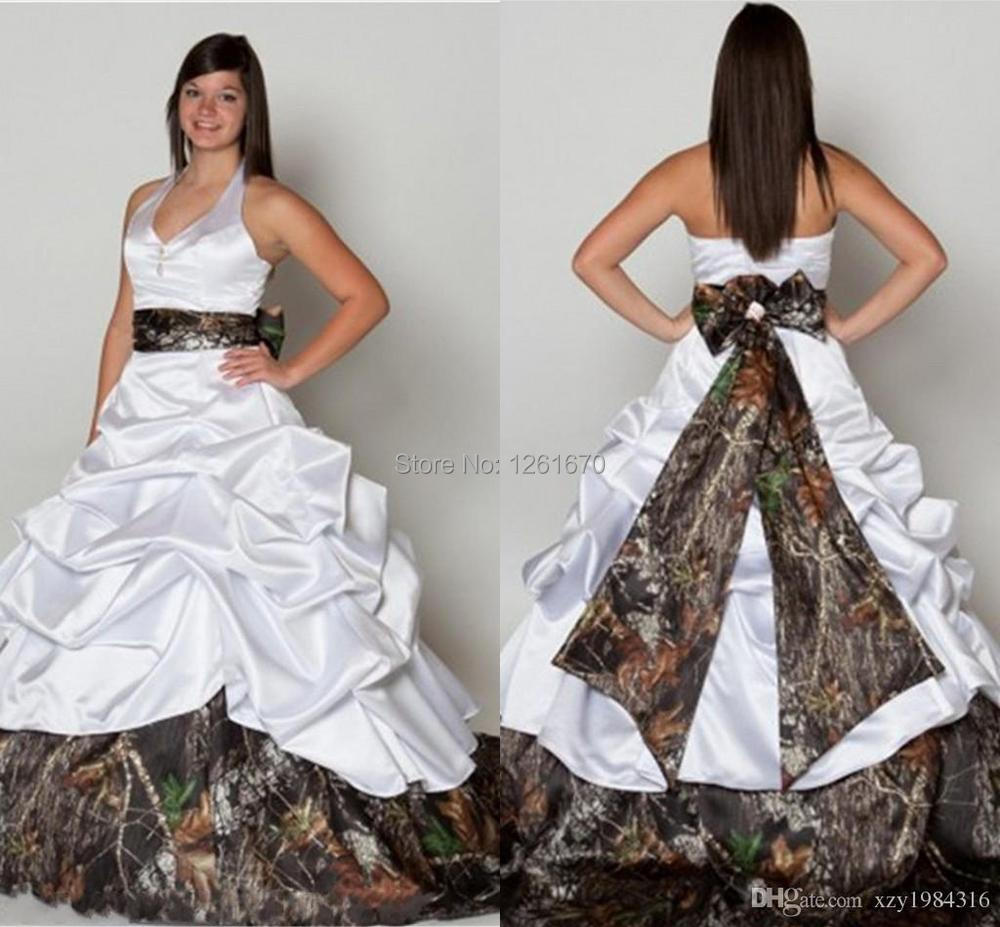 Halter Tiered Ruffles Camo Wedding Dresses White Flouncing Ruffles