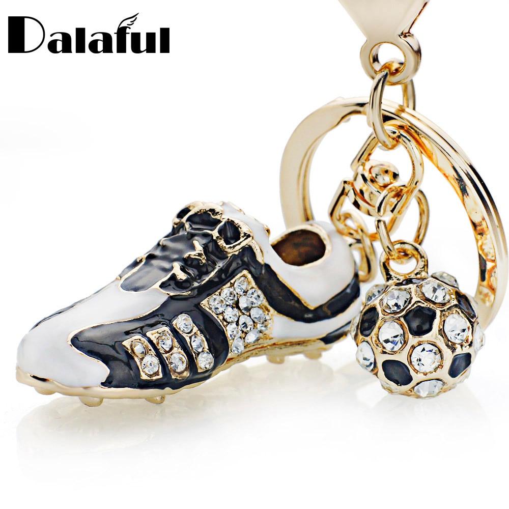 Crystal Football Soccer Shoes Rhinestone Keychains For Car Purse Bag Buckle Pendant Keyrings Key Chains Women Gift K258