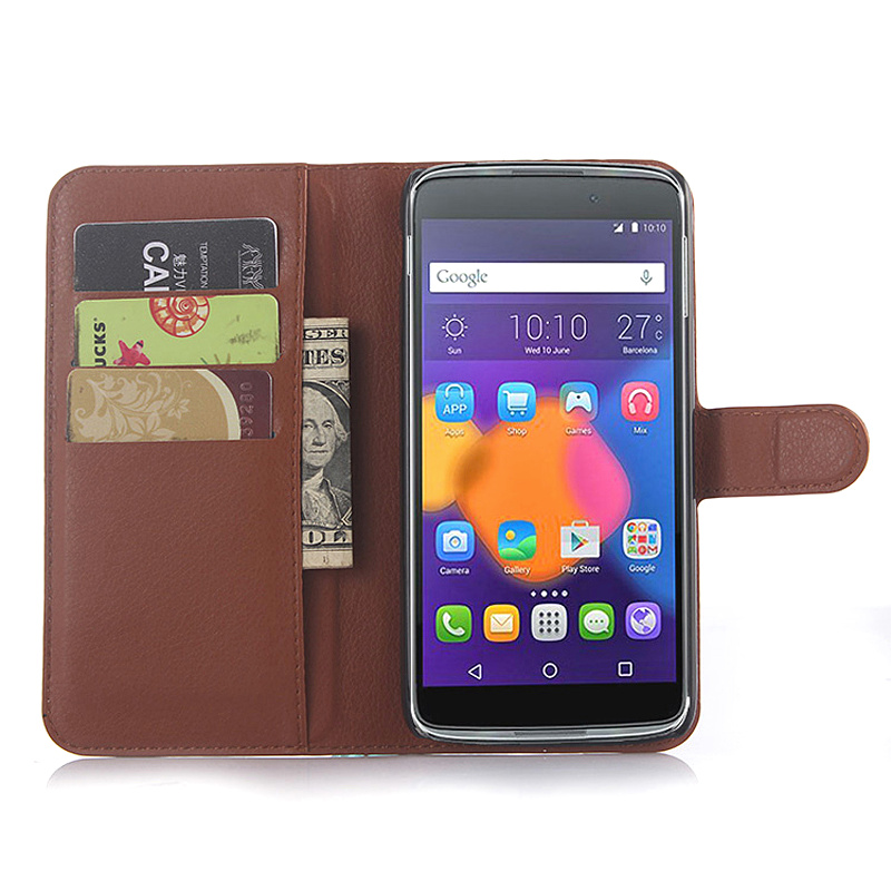 Free Shipping for One Touch Idol 3 5.5 inch case Litchi texture PU Leather Flip Case For Alcatel Idol 3 wallet style Phone Case
