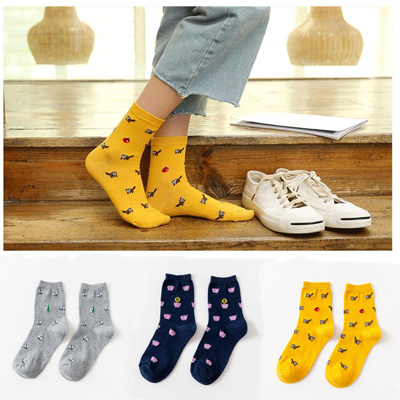 Cute Panda Raccoon Sheep Cartoon Woman Socks Korean Style Female Fashion Kawaii Piglet Chick Girl Socks Happy Woman Socks