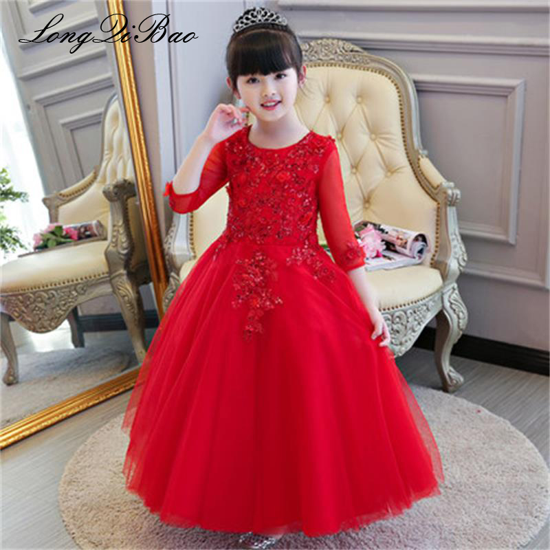 Baby girl red long children's dress birthday princess dress flower girl dress girl dance piano costume long sleeve autumn and wi baby girl red children s dress princess dress long sleeve birthday flower girl dress girl piano host costume long winter