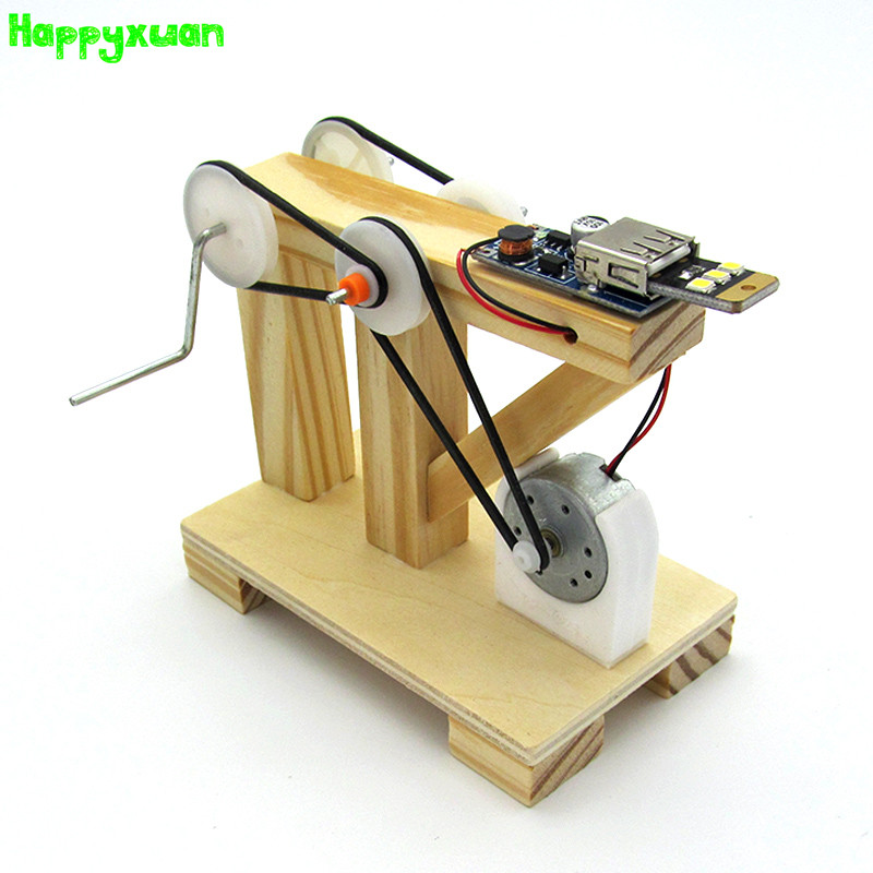 Happyxuan DIY Dynamo Generator Model Wood Invention Science Experiment Toys Assemble Material Kits Children Creative Educational