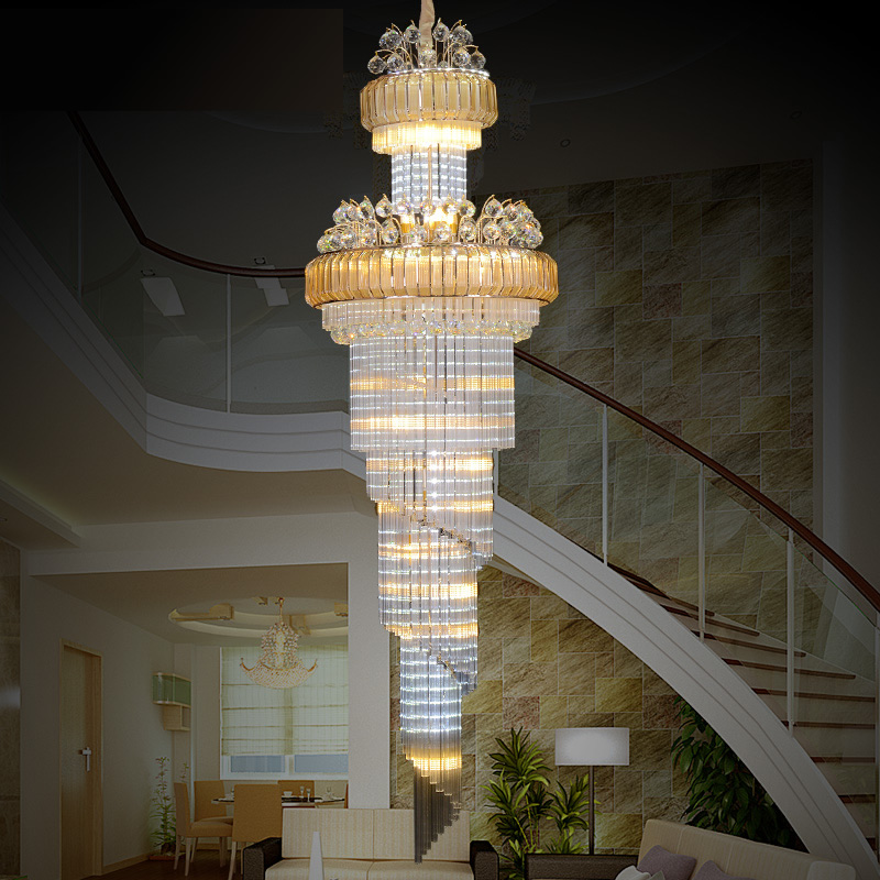 Luxury K9 Gold Crystal Chandelier With Remote Control Lustre Modern Led Stair Chandelier Lighting For Living Room Hotel Villa 15 heads gold candle led fixture crystal hanging chandelier lighting hotel villa chandeliers living room k9 clear cristal lustre