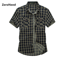 Tactical Shirt Plaid Short Sleeve Pilot Shirt Camisa Social Masculina Plus Size Mens Dress Shirts Classic