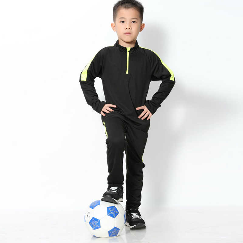 Children Long Sleeve Soccer Uniforms Kids Football Jerseys Zipper Training Suit Tracksuits Set Soccer Jerseys Shirt + Pants
