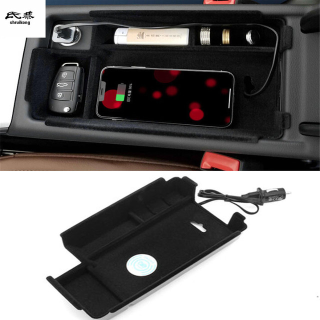 Mobile phone wireless charging Central armrest storage box Car Accessories For AUDI A4 B9 2017 2018 / A5 2017-2018