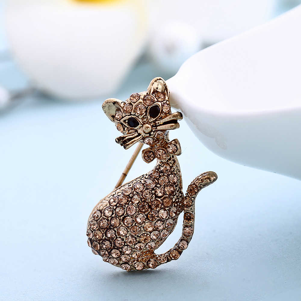 Fashion Vintage Crystal Brooch Cute Cat Rhinestone Collar Pins Women Gift Brooches Badges Jewelry Clothes Accessories