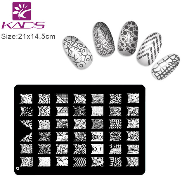 Aliexpress buy kads design d size xl nail stamping plates kads design d size xl nail stamping plates stainless steel image konad stamping nail art manicure prinsesfo Gallery