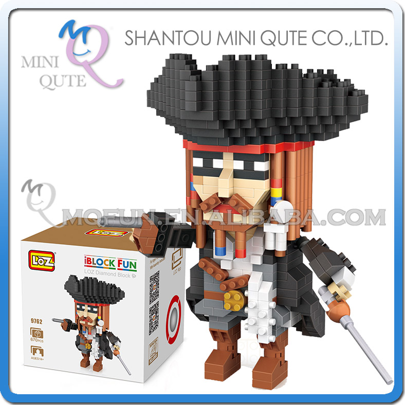Mini Qute LOZ movie characters Pirates of the Caribbean Captain Jack plastic building blocks model educational toy loz pirates of the caribbean jack salazar mini blocks brick heads figure toy assemblage toys offical authorized distributer