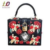 Black Pu Red Embroidery Famous Brand Women Shoulder Bag Pearl Evening Clutches Party Purse Wedding Tote