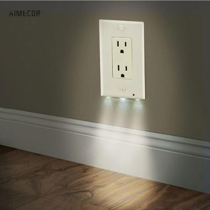 Aimecor Safety Plug Cover Led Night Angel Wall Outlet Face Hallway Bathroom Light For Bathroom
