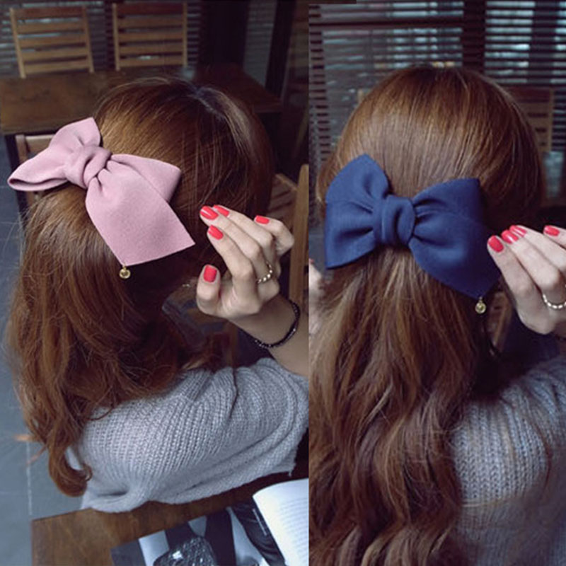 2019 Korean Fashion Solid Cloth Velvet Bows Hair Clips for Women Barrettes   Headwear   Hair Accessories Scrunchies Ties Headband