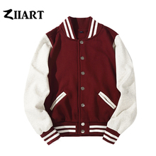 Man Boys Baseball jackets S 3XL Wine Red Black Royal Blue Red Navy Blue Couple Clothes Autumn Winter ZIIART