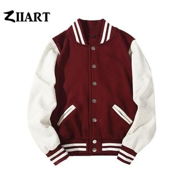 цена Man Boys Baseball jackets S 3XL Wine Red Black Royal Blue Red Navy Blue Couple Clothes Autumn Winter ZIIART онлайн в 2017 году