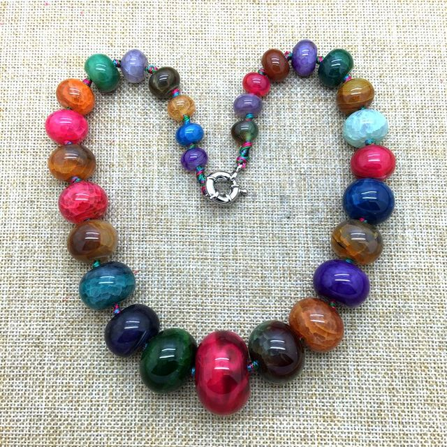 Natural Stone Bead Necklace, Mixed Color Agate Necklace Rondell Round Beads 10 mm - 20 mm Mixed String Color Necklace