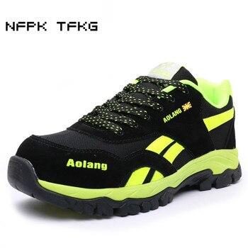 Hombres casual de gran tamaño transpirable malla de acero puntera tapas de trabajo zapatos de seguridad placa plataforma de seguridad botas de seguridad proteger calzado