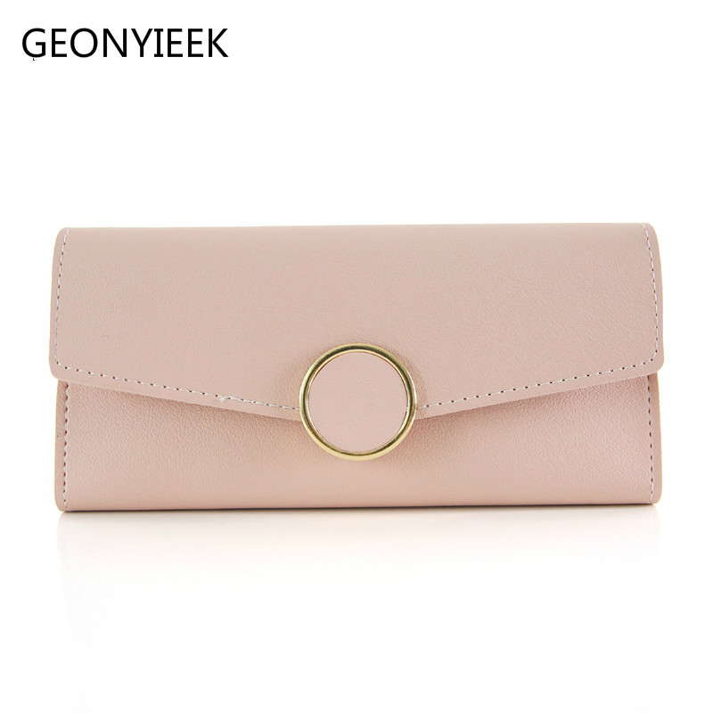 Wallet Leather Women Wallet Long Pu Leather Purse Zipper Metal Circle Decor Wallets Female Hasp Coin Purse Clutch Drop Shipping