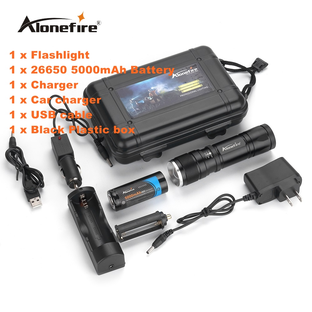 Alonefire H220 CREE T6 LED Zoomable Flashlight Adjustable Focus Zoom Torch Lamp Light with 26650 Battery and charger cree xm l t6 bicycle light 6000lumens bike light 7modes torch zoomable led flashlight 18650 battery charger bicycle clip
