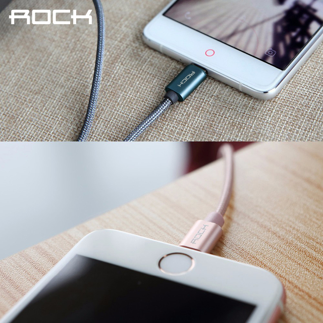 ROCK Metal Nylon Braid Micro USB Cable for Samsung/Xiaomi/Meizu/Huawei/HTC USB Cable Alloy Data Charging cable