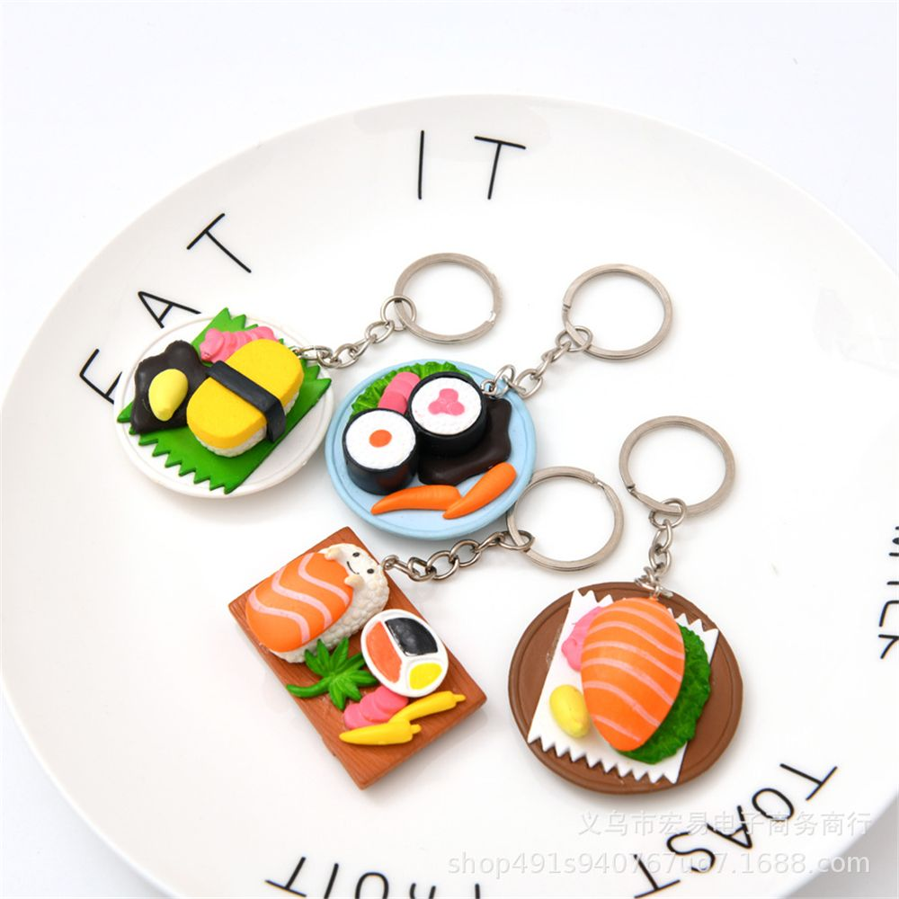 2019 Creative Salmon Slice Sushi Shape Keychain Keychain Food Simulation Pendant Keychain Car Kit Accessories Small Gift Keychai