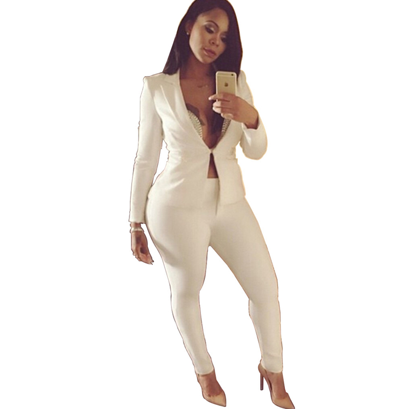 Two piece Pant Suits 2018 spring summer long sleeve Casual Sexy Jacket+long trouser 2 Piece Set white blue black elegant outfit