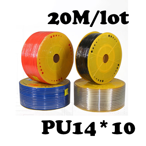 PU14*10  20M/lot  Free shipping Pneumatic parts 14mm PU Pipe  for air pneumatic hose 14*10 Compressor hose air compressor 1 4pt 7 way air hose pipe inline manifold block splitter free shipping