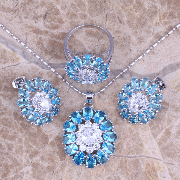 Lovely Sky Blue Cubic Zirconia White CZ Silver Jewelry Sets Earrings Pendant Ring Size 6 / 7 / 8 / 9 / 10 S0426