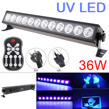 27W 36W LED UV Zwart Licht Afstandsbediening Voice Control DMX512 Paars Licht Bar voor Stage Disco Club party Kerstmis Halloween