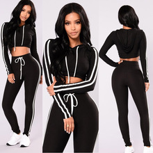 ZOGAA Women Sport Suit Fitness 2PCS Casual Set Long Sleeves Tops Sports Colthing Pants Workout Leggings Sexy High Waist Hot Sale