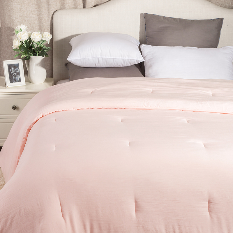 Naturelife Washed Cotton Like Duvet Comforter Insert With Corner Ties Solid Pink Quilted Down Alternative Edredom Futon In Comforters Duvets From Home