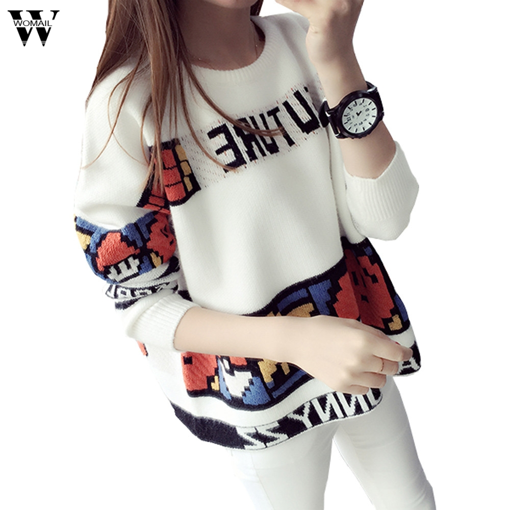 Womail Christmas Sweater Women Snow Deer Hit Color Pullover Knitted Sweaters Loose Winter Coat Dropship Nov7