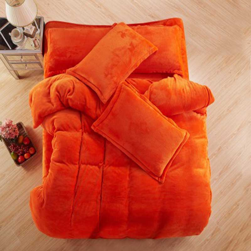 Autumn And Winter Warm Flannel Bedding Sets Fleece Duvet Cover Fitted Sheet Bed Cloth King Queen Twin Size