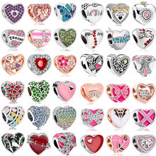 1pc European Crystal Flower Hearts Hamsa Hand Evil Eye Charms Beads Fit Original Pandora Bracelets Bangles for Women DIY Trinket(China)