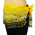 1PC Chiffon 3 Row Belly Dance Hip Scarf Coin Belt Skirt Ye